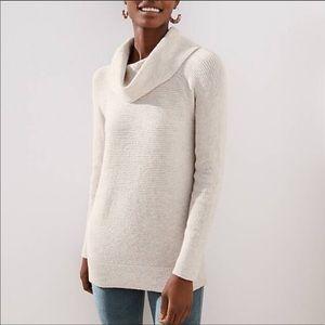 Ann Taylor LOFT Beige Cowl Neck Tunic Sweater
